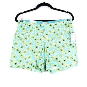 Crown & Ivy | Aqua Palms Print Shorts 4